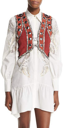 Roberto Cavalli Embellished Snake-Trim Cropped Vest, Ruby/Terracotta