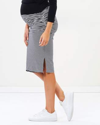 Angel Maternity Reversible Maternity Pencil Skirt in Stripes