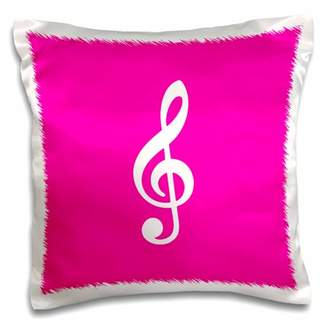 3dRose Hot Pink Treble Clef Music Notation. G clef musical note musician gift - Pillow Case, 16 by 16-inch
