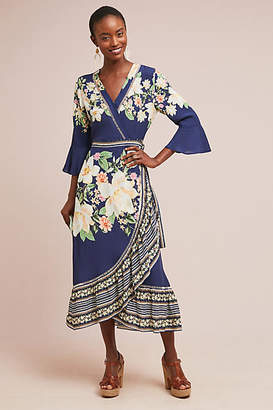 Anthropologie Farm Rio for Farm Rio Midnight Flower Wrap Dress