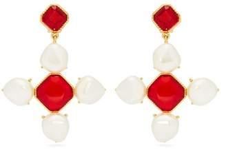 Oscar de la Renta Baroque Faux Pearl And Crystal Drop Earrings - Womens - Red