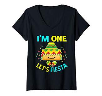 Womens I'm One Taco 1st Birthday Gifts for Boys Girls Kids Mexican V-Neck T-Shirt