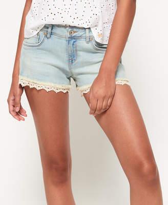 ab2e8cc7d95e Superdry Lace Trim Denim Hot Shorts
