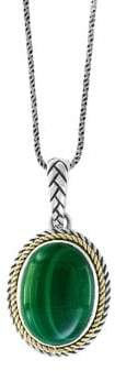Effy 18K Yellow Gold, Sterling Silver & Malachite Pendant Necklace