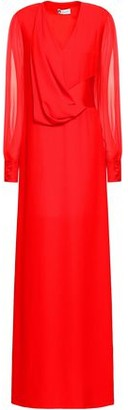 Lanvin Chiffon-paneled Draped Crepe Gown