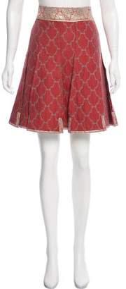 Prada Pleated Brocade Skirt