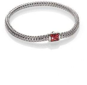 John Hardy Classic Chain Red Sapphire& Sterling Silver Extra-Small Bracelet
