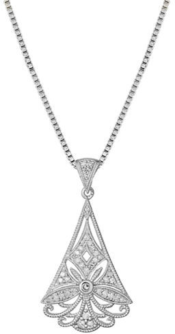 Lord & Taylor Sterling Silver & Diamond Pendant Necklace
