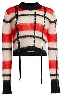3.1 Phillip Lim Women's Ribbon Trim Striped Crewneck Sweater
