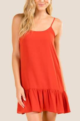 francesca's Alexandra Ruffle Hem Shift Dress - Rust