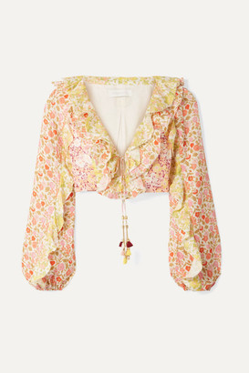Zimmermann Goldie Cropped Ruffled Floral-print Linen Top - Peach