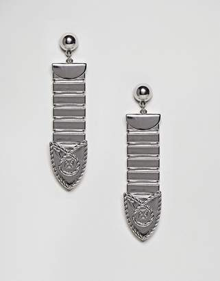Asos Metal Tipped Buckle Earrings