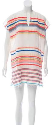 Lemlem Woven Striped Fringe Mini Dress