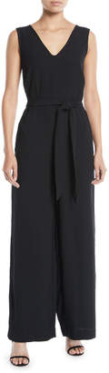 Max Studio V-Neck Tie-Waist Wide-Leg Jumpsuit