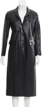 The Row Leather Notch-Lapel Coat