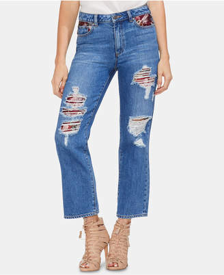 Vince Camuto Cotton Ripped Repaired Jeans