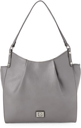Anne Klein Pleated Faux Leather Hobo