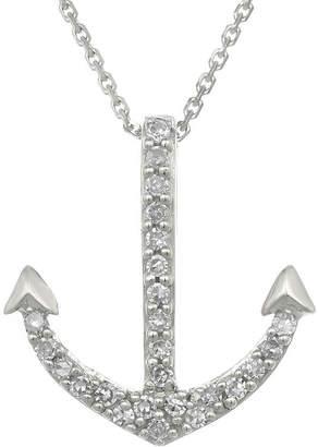 FINE JEWELRY Diamond-Accent 10K White Gold Anchor Mini Pendant Necklace