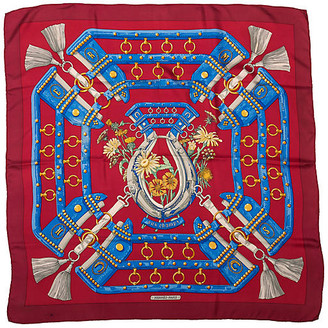 One Kings Lane Vintage Hermes Aux Champs Red Silk Scarf - Vintage Lux