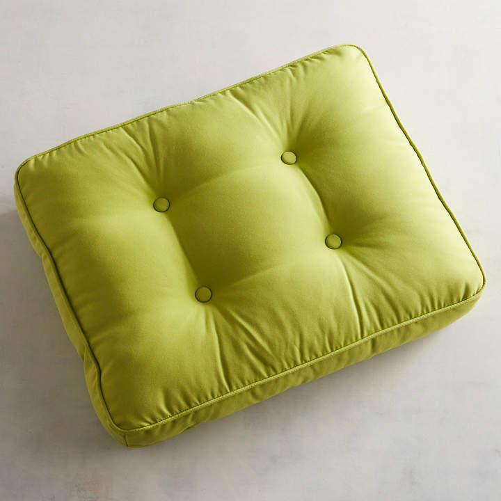 Tufted Ottoman Cushion in Cabana Kiwi