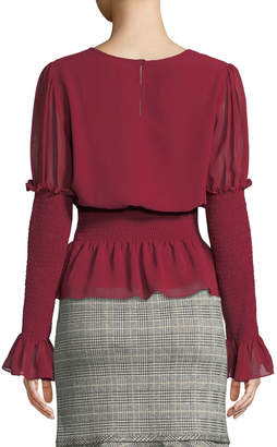 Max Studio Shirred-Sleeve Ruffle Blouse