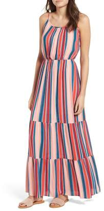 One Clothing Stripe Bar Back Maxi Dress