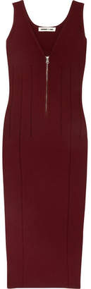 McQ Alexander McQueen - Cutout Stretch-knit Dress - Burgundy $465 thestylecure.com
