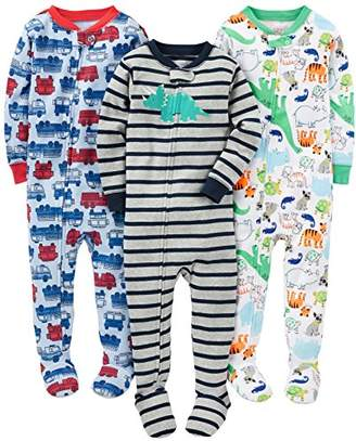 Carter's Simple Joys by Baby Boys' 3-Pack Snug-Fit Footed Cotton Pajamas