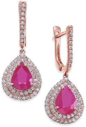 Macy's Certified Ruby (5 ct. t.w.) & White Sapphire (1 ct. t.w.) Drop Earrings in 14k Rose Gold, Created for