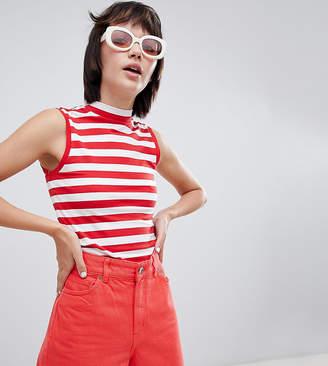 Monki Jersey Stripe Sleeveless High Crop Top