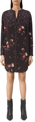 ALLSAINTS Helle Amarillo Floral Silk Shirt Dress $340 thestylecure.com
