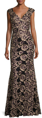 Jovani Cap-Sleeve Embroidered Rose Gown, Black/Gold $760 thestylecure.com