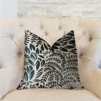 BEIGE Plutus Brands Plutus Leaf Snap Blue and Luxury Throw Pillow