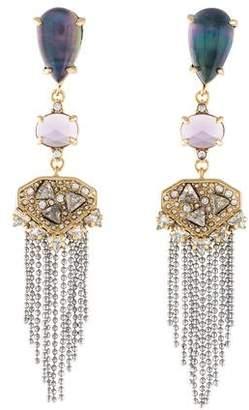 Alexis Bittar Mother of Pearl Tassel Chandelier Fringe Earrings