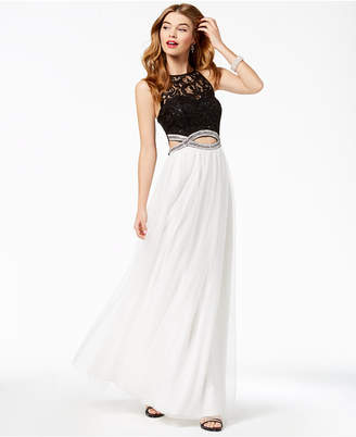 Speechless Juniors' Lace Infinity-Waist Gown
