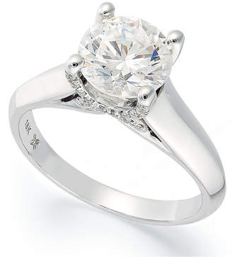 X3 Certified Diamond Solitaire Engagement Ring in 18k White Gold (1-1/2 ct. t.w.), Created for Macy's