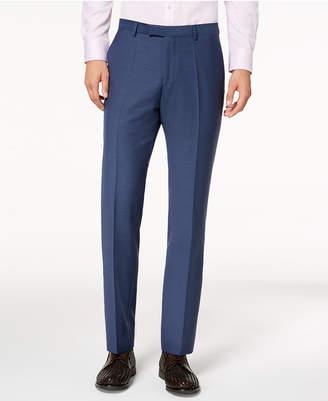 HUGO BOSS Men's Modern-Fit Blue Mini-Check Suit Pants
