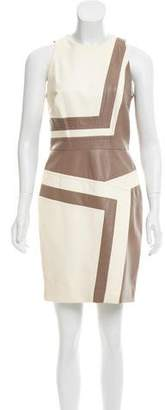 J. Mendel Leather Colorblock Dress
