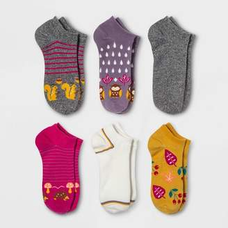 Xhilaration Women's Woodland Critter 6pk Low Cut Socks Colors May Vary One Size