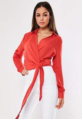 Missguided Red Tie Side Blouse, Rust Orange