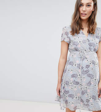 Glamorous Bloom Mini Wrap Dress With Tie Waist In Floral
