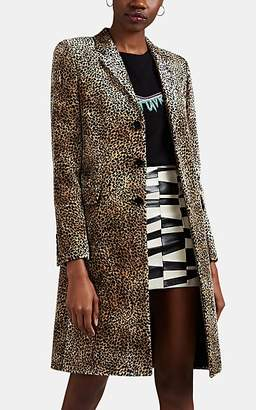 Saint Laurent Women's Leopard-Print Velvet Coat - Black
