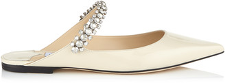 Jimmy Choo BING FLAT Linen Patent Leather Mules with Crystal Strap