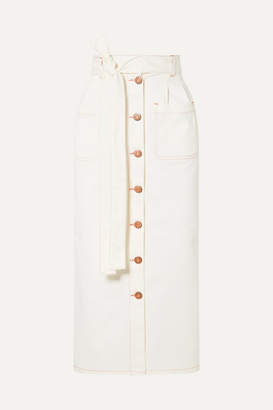 See by Chloe Belted Denim Midi Skirt - Ivory