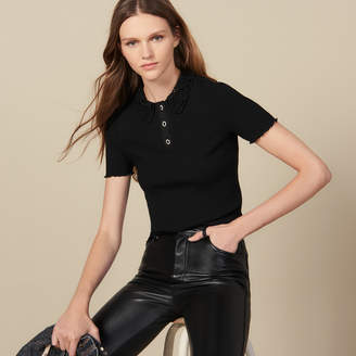 Sandro Ribbed polo shirt with lace collar