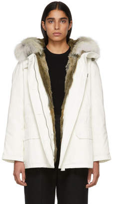 Yves Salomon Army White Classic Short Fur-Lined Parka