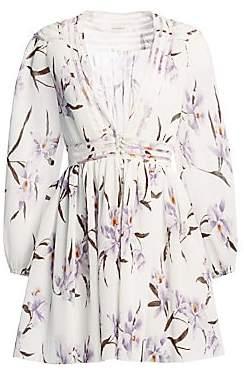 Zimmermann Women's Corsage Plisse Orchid-Print Mini Dress