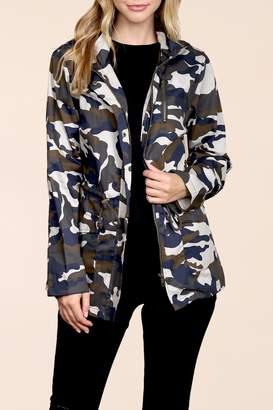 Riah Fashion Camouflage-Hooded Pocket-Jacket