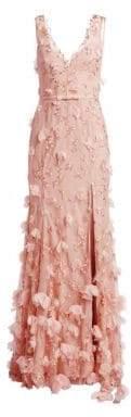V-Neck Floral Front Slit Mermaid Gown