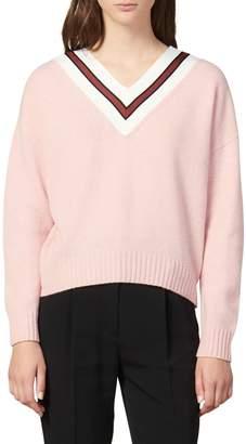 Sandro Stripes V-Neck Wool Blend Sweater